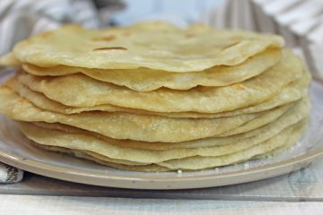 Side view of a stack of flour tortillas