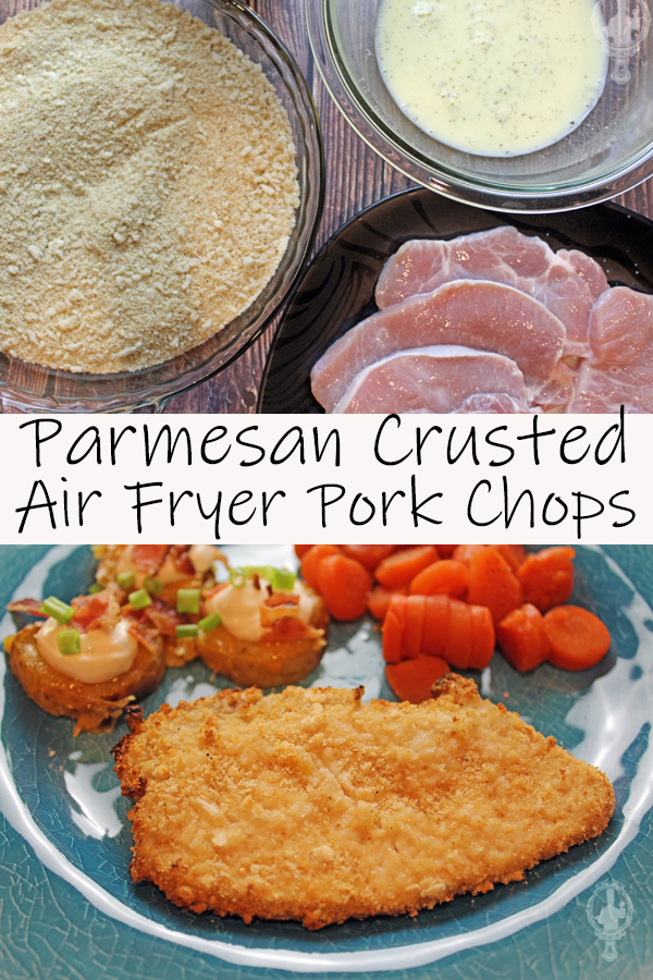 Top image has the ingredients (already mixed) used in the Air Fryer Pork Chops. The bottom image has a plate with a pork chop, carrots and potato slices.