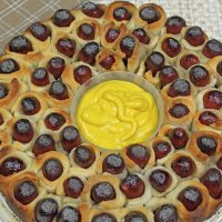 Overhead view of pull apart pigs in a blanket in whole