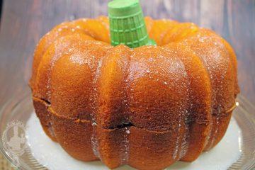 Pumpkin Shaped Cake on a Cake Stand.