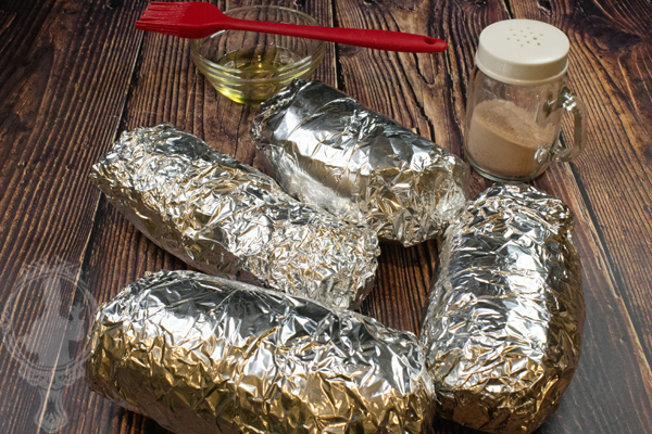 Potatoes wrapped in foil