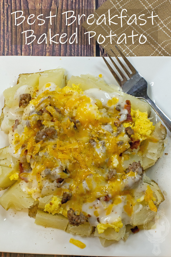 Overhead view of a plate with breakfast baked potato and a fork.