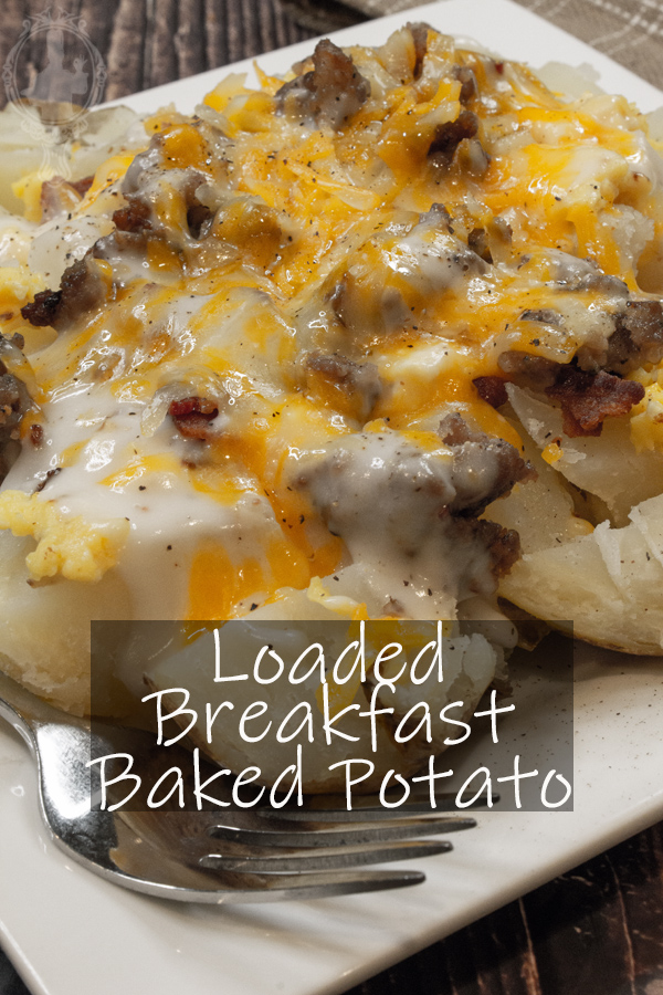 Angled view of a breakfast baked potato.