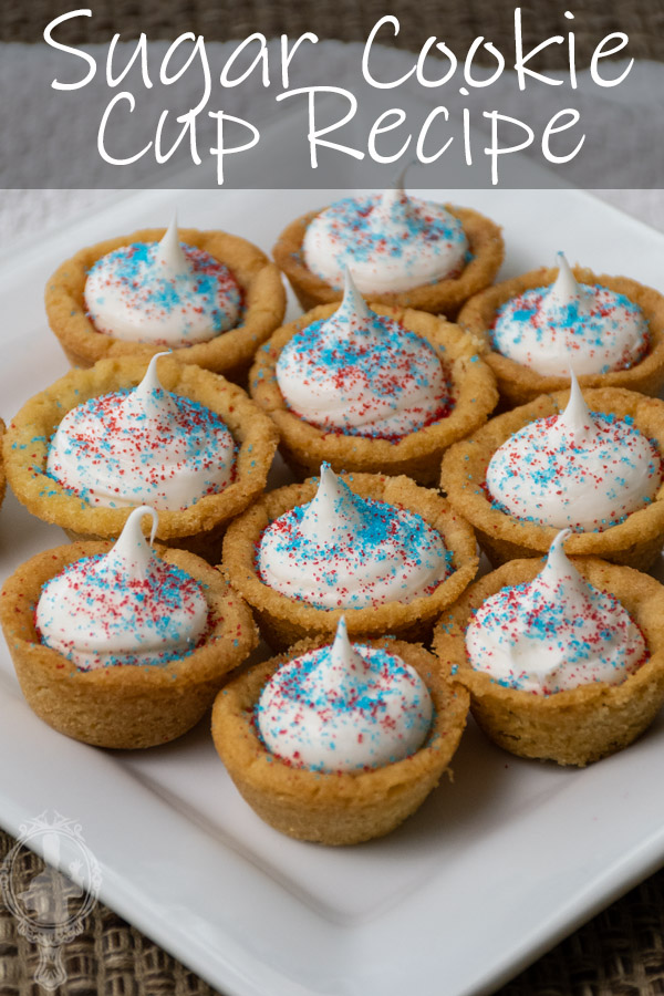 Angled view of a plate ready to serve sugar cookie cups.